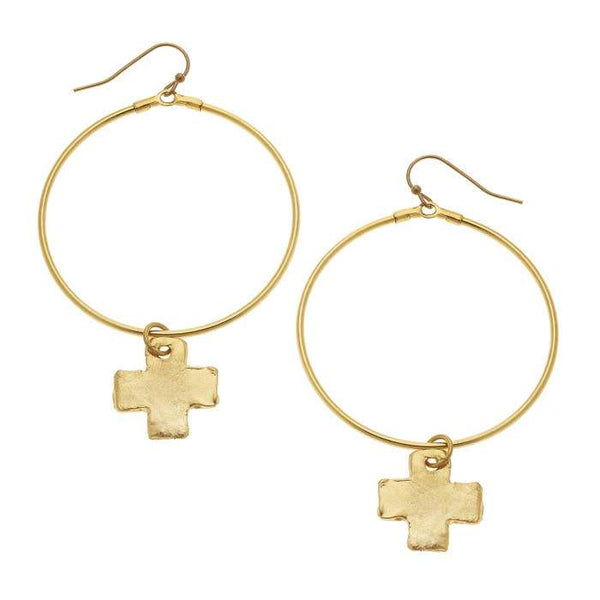 Gold Cross and Round Hoop Earrings-Susan Shaw-Sol y Luna Salon
