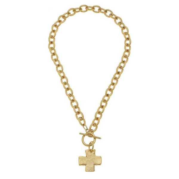 Gold Cross Front Toggle Necklace-Susan Shaw-Sol y Luna Salon