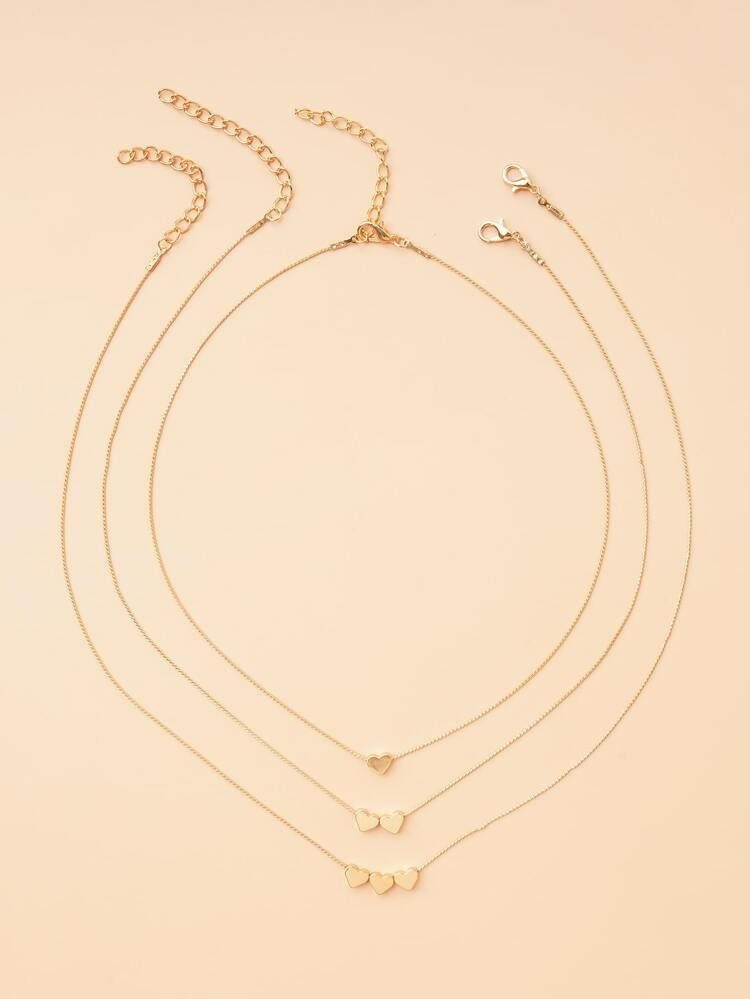 Triple Layered Heart Necklace Set