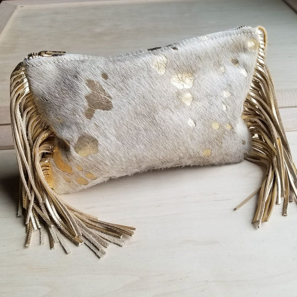 Hair on Hide Gold & Cream Leather Clutch Handbag-The Jewelry Junkie-Wristlet-Sol y Luna Salon