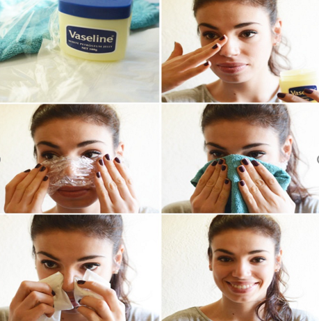 Remove blackhead using plastic wrap