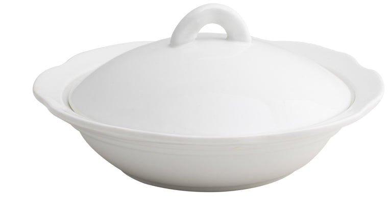 Royal White New Bone Soup Plate with Lid 18.5 cm