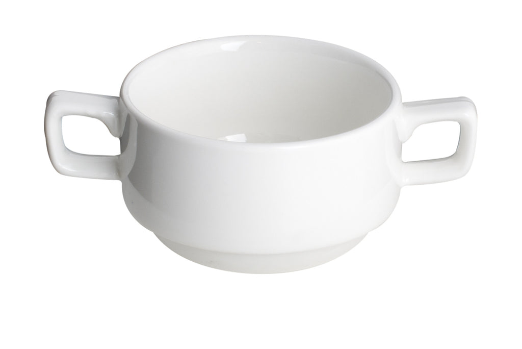 Royal White New Bone Soup Cup 2 Handles (Stackable) 300 cc