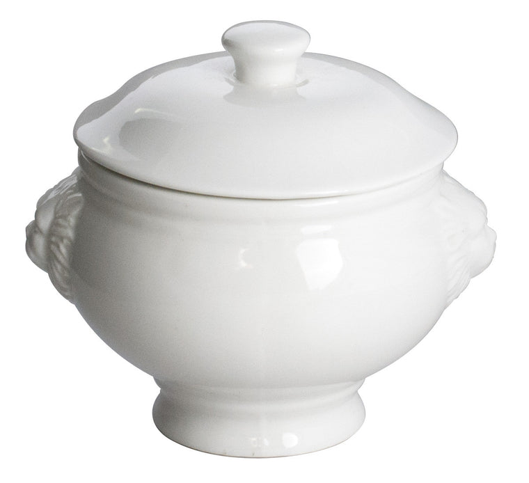 Royal White New Bone Lion Head Soup Tureen with Lid 460 cc