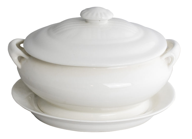 Royal White New Bone Oval Soup Tureen with Lid & Underliner 29 cm