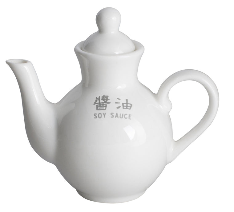Royal White New Bone Soy Sauce Pot with Lid & Wording