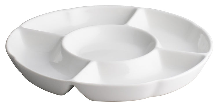 Royal White New Bone Compartment Five Assorted Fruit Plate 31 cm