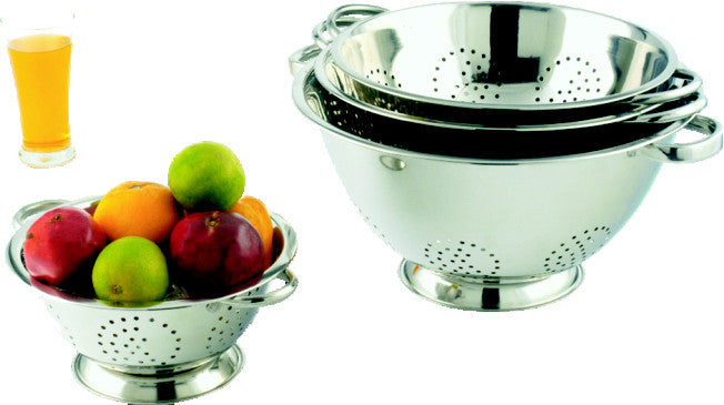 King Metal Stainless Steel Colander Deep With Pipe Handle