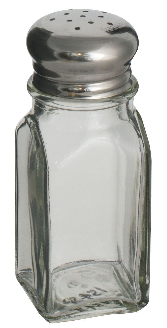 Alegacy 2 oz Square Glass Salt/Pepper Shaker With Stainless Steel Top