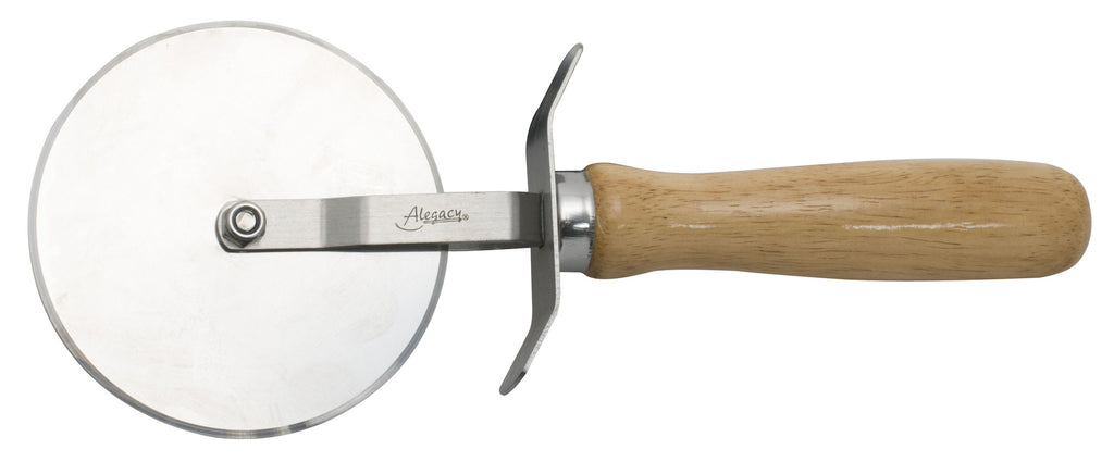 "Alegacy 4"" Dia Stainless Steel Pizza Cutter Wooden Handle"