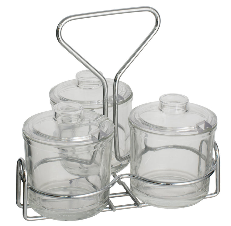 Alegacy 3 Condiment Glass Jar With Rack
