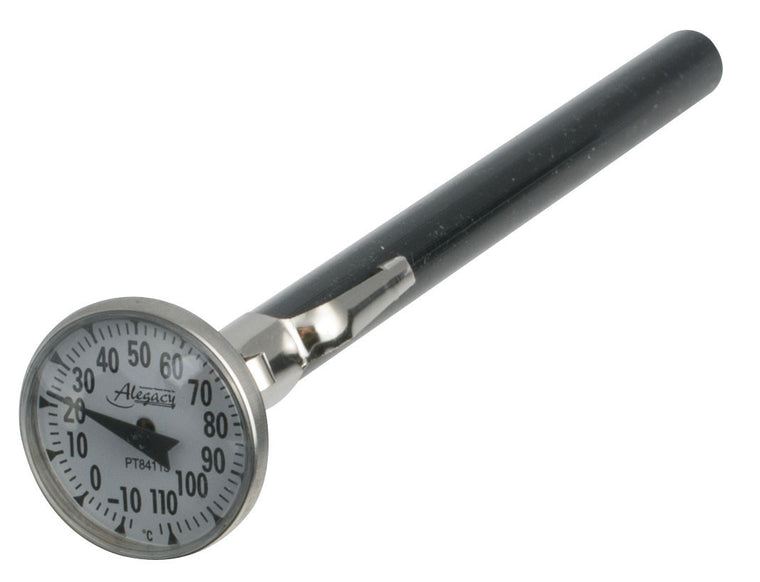 "Alegacy Pocket Test Thermometer 1"" Stainless Steel -10-110 C"
