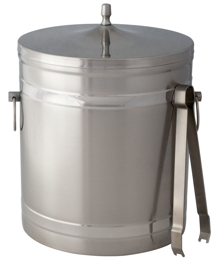 Stainless Steel Ice Bucket 5 litre With Lid Ring Hole & Tong