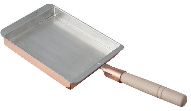 Copper Frypan with Wooden Handle 180x225x33 mm
