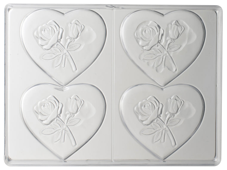 Matfer Chocolate Moulds Polycarbonate 4 Hearts With Flowers