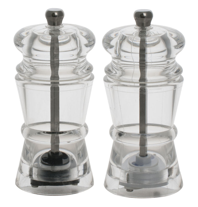 Royal Steel Acrylic Salt & Pepper Mill Set H14 cm