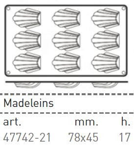 Paderno Flexible Non-Stick Baking Mould -  Madeine 78 x 45 x 17mm