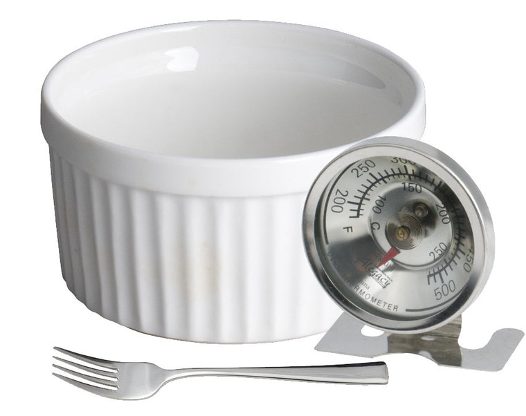 Royal White Ramekin Bowl with Oven Thermometer and Dessert Fork