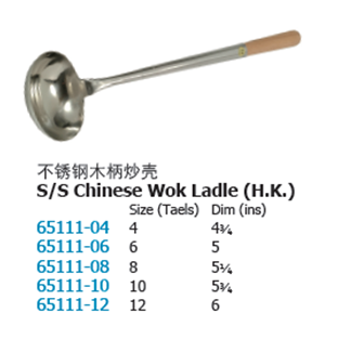 Stainless Steel Chinese Wok Ladle (H.K)