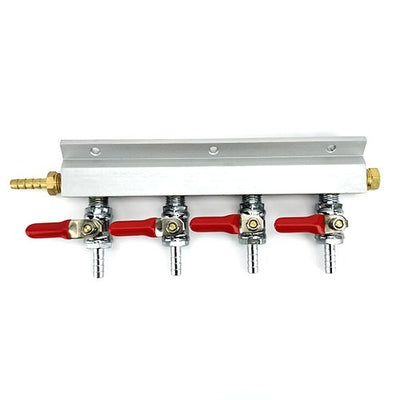 "4 Output / 4 Way Manifold Gas Line Splitter with Check Valves (1/4"" thread, 6mm Barb) - Three Chins Brewing"