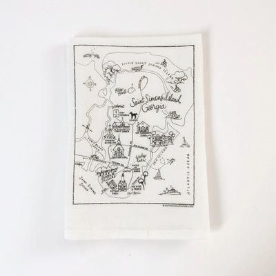 Saint Simons Island, Georgia Map Flour Sack Towel