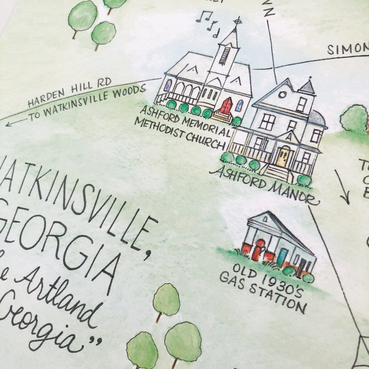 Watkinsville, Georgia Map Art Print