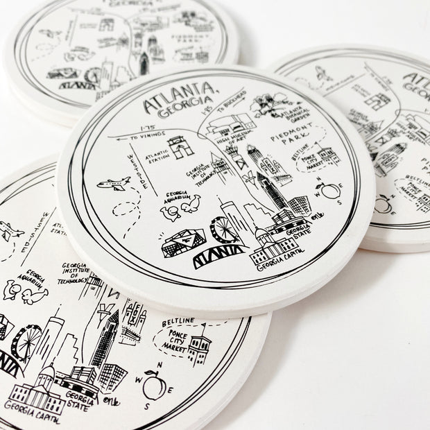 Atlanta, Georgia Map Ceramic Coasters