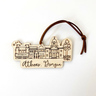 Athens, Georgia Skyline Wood-cut Ornament