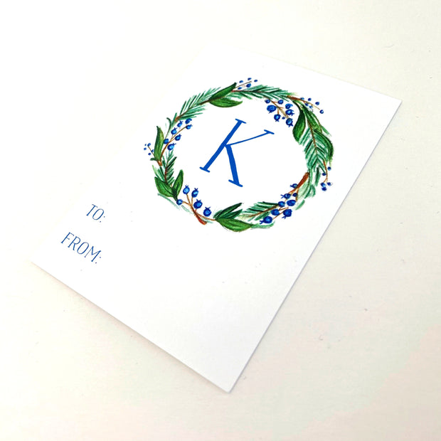 Blue Monogram Wreath Gift Tags