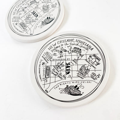New Orleans Map Ceramic Coasters