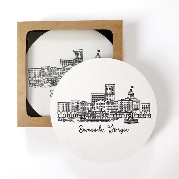 Savannah, Georgia River Street Skyline Letterpress Coasters