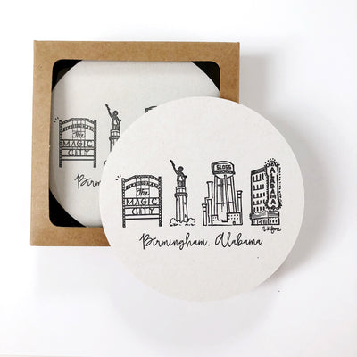 Birmingham, Alabama Skyline Letterpress Coasters