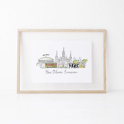 New Orleans, Louisiana Skyline Art Print