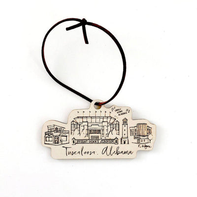 Tuscaloosa, Alabama Wood-cut Ornament