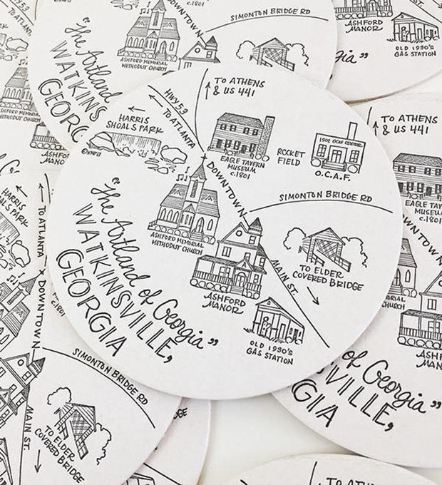 Watkinsville, Georgia Map Letterpress Coasters