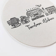 Tuscaloosa, Alabama Skyline Letterpress Coasters