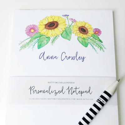 Sunflower Floral Personalized Notepad
