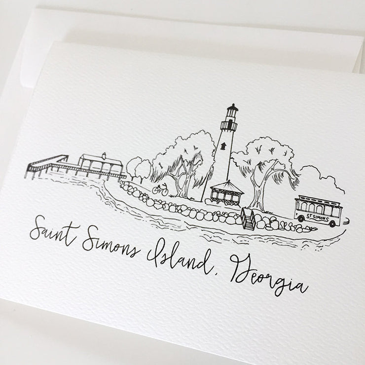 Saint Simons Island Skyline Notecard Set