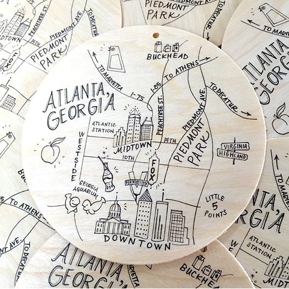 Birch Wood Atlanta, Georgia Map Ornament