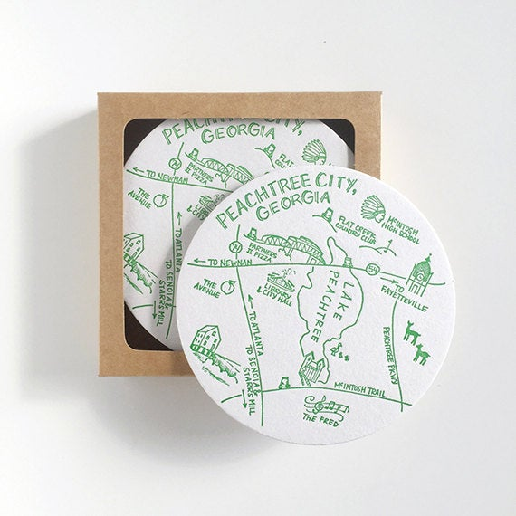 Peachtree City, Georgia Map Letterpress Coasters