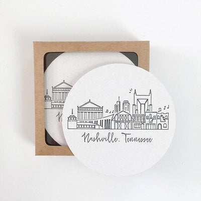 Nashville, Tennessee Skyline Letterpress Coasters