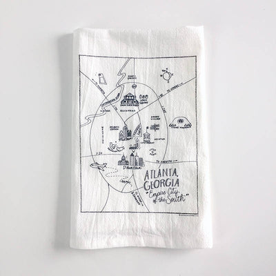 Atlanta, Georgia Map Flour Sack Towel