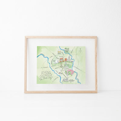 Athens, Georgia Map Art Print