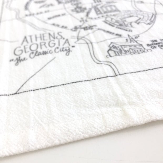 Athens, Georgia Map Flour Sack Towel