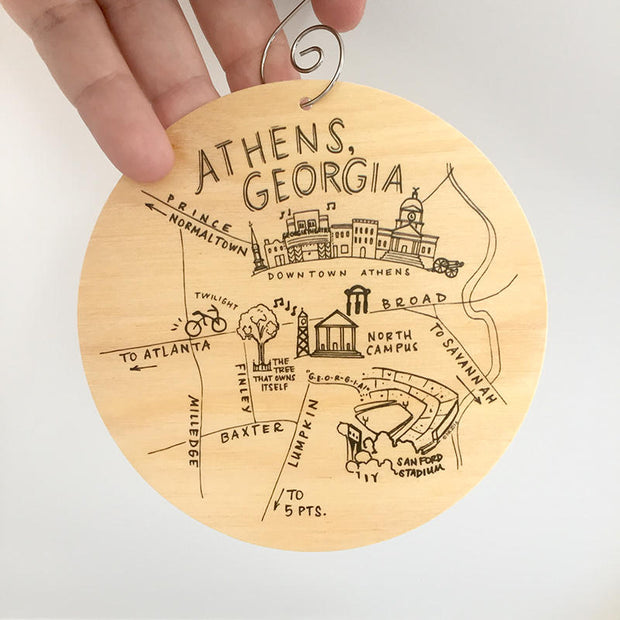 Athens, Georgia Map Birch Wood Ornament