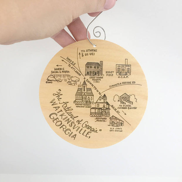 Watkinsville, Georgia Map Birch Wood Ornament