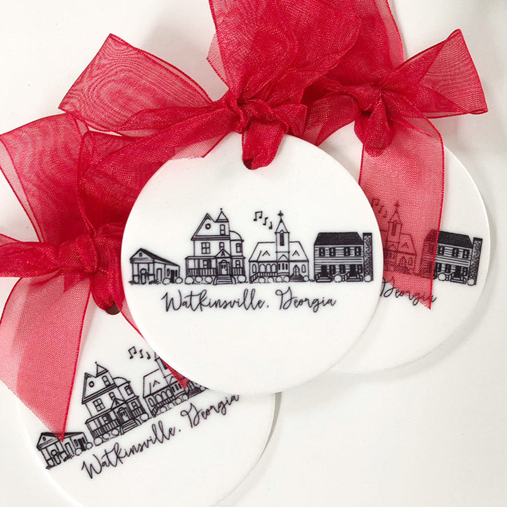 Ceramic Watkinsville, Georgia Skyline Ornament