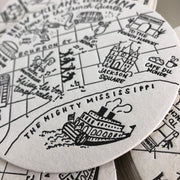French Quarter, New Orleans Map Letterpress Coasters