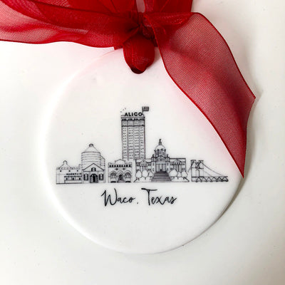 Waco, Texas Skyline Ceramic Ornament