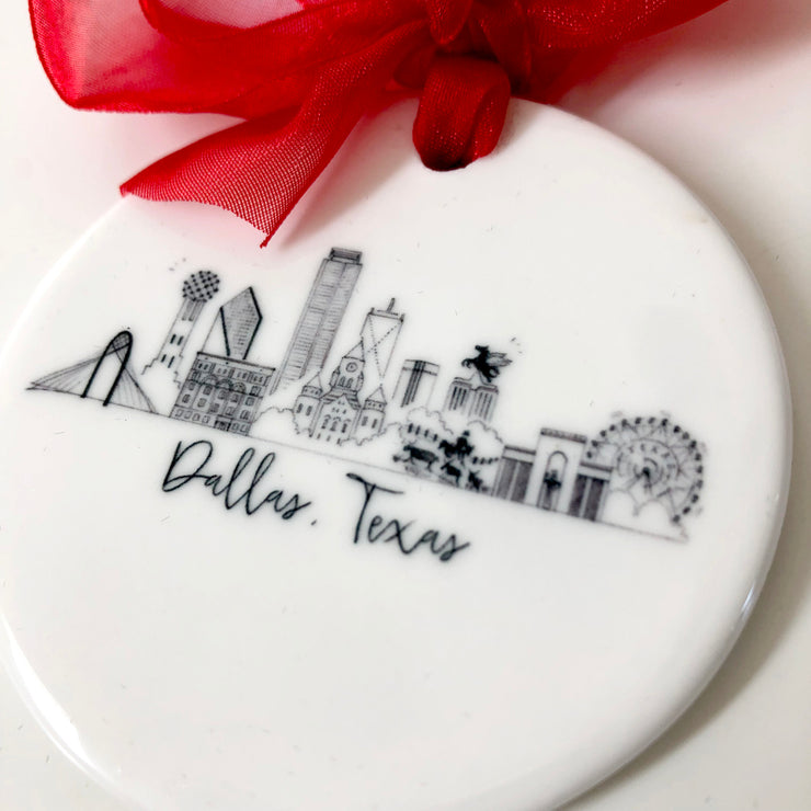 Ceramic Dallas, Texas Skyline Ornament